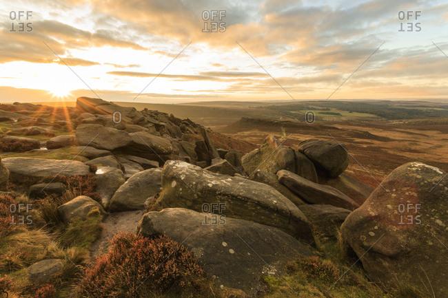 Higger Tor, Carl Wark Hill Fort and Hathersage Moor, sunrise in autumn, Peak District National Park, Derbyshire, England, United Kingdom, Europe