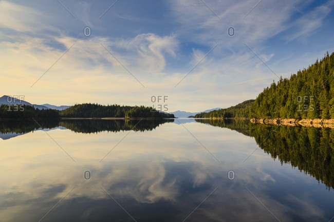Winstanley Island sunset reflections, Misty Fjords National Monument, Tongass National Forest, Ketchikan, Alaska, United States of America, North America