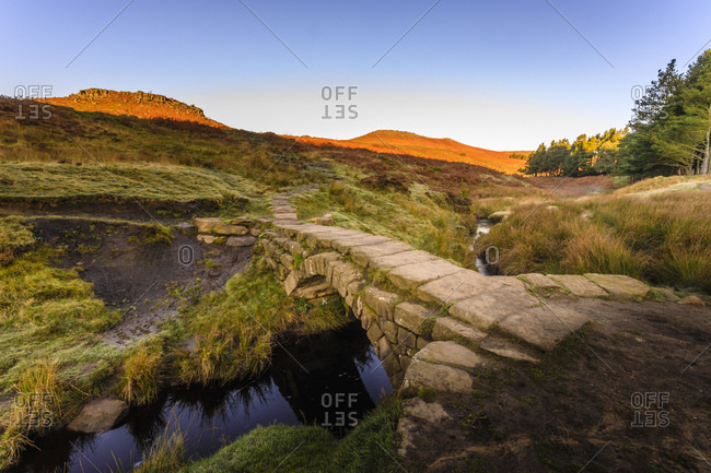 Carl Wark and Higger Tor, autumn sunrise, from Burbage Brook, Hathersage Moor, Peak District National Park, Derbyshire, England, United Kingdom, Europe