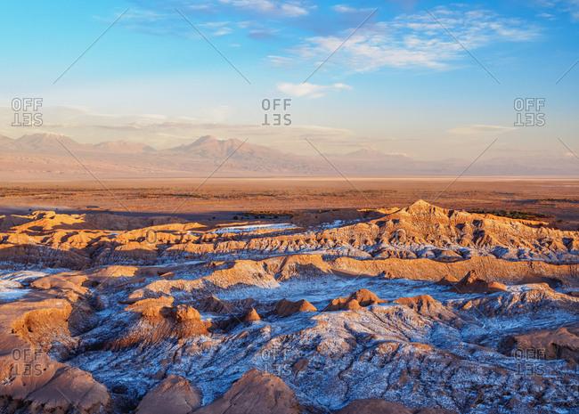 Valle de la Luna (Valley of the Moon) at sunset, near San Pedro de Atacama, elevated view, Atacama Desert, Antofagasta Region, Chile, South America