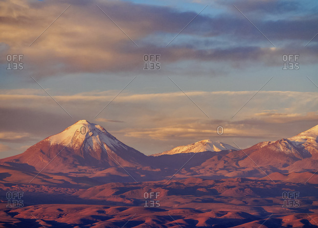 View over Atacama Desert towards Cerro Colorado, San Pedro de Atacama, Antofagasta Region, Chile, South America