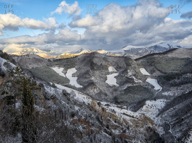 Apennines in winter after a snow storm, Umbria, Italy, Europe