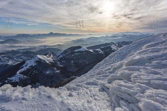 Monte Cucco Park, sunrise on Apennines in winter, Umbria, Italy, Europe