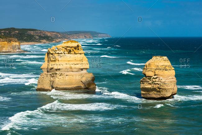Two of the Twelve Apostles at Victoria's Great Ocean Road, Victoria, Australia, Pacific