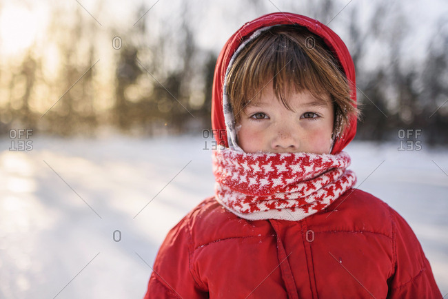 Portrait of a young boy bundled up from the cold