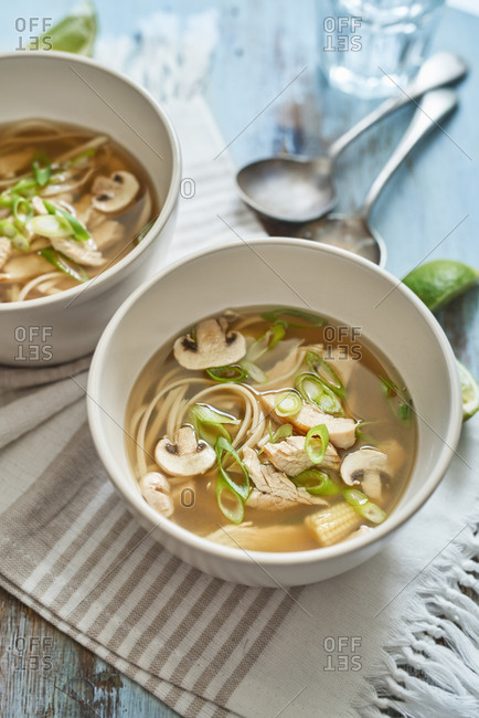 Close up of chicken pho
