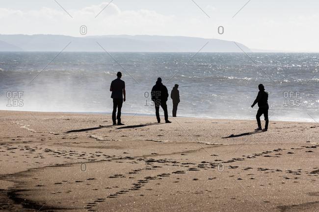 Silhouette of people standing on beach overlooking ocean