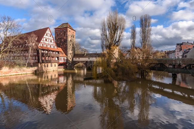 Bridge view of quiet German town