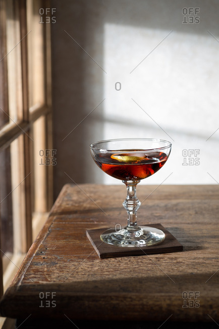 Martini aperitif on a rustic table