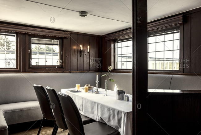 Sola, Norway - June 16, 2017: Set table in the dining room of the Sola Strand Hotel