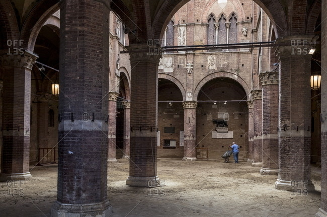 Siena, Italy - August 16, 2017: Stables of the Il cortile del Podesta courtyard