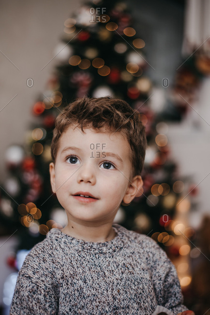 Portrait of little kid in Christmas spirit