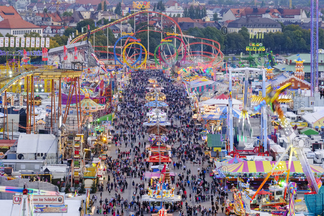 Munich, Germany - September 25, 2017: View of Oktoberfest fair on Theresienwiese in the evening