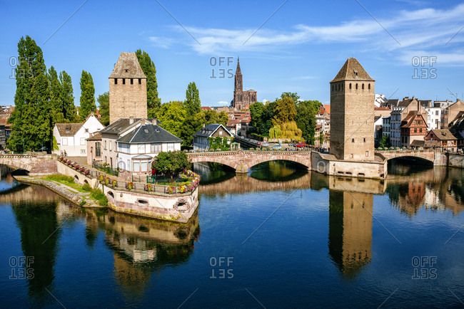 France- Strasbourg- the old towers of the city and the cathedral in the background