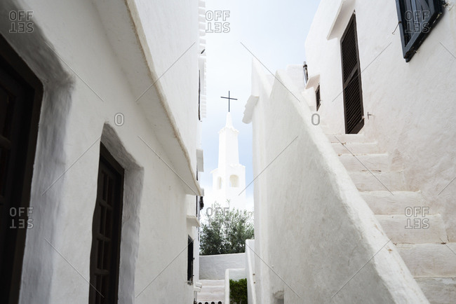 Spain- Menorca- Binibequer Vell- white traditional small village- Church