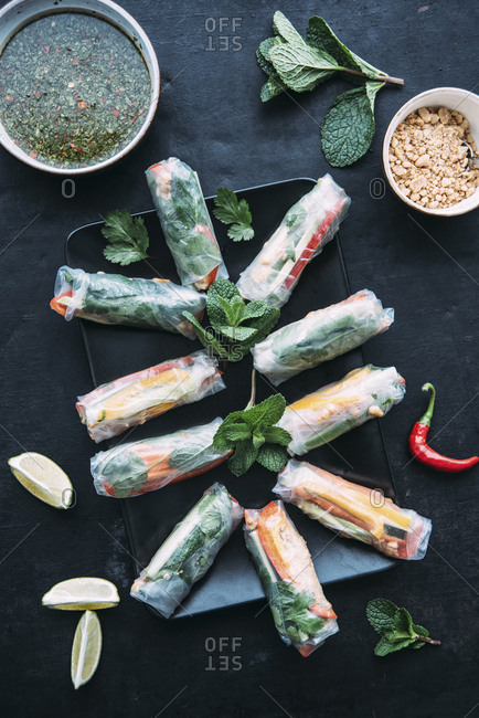 Vietnamese spring roll with vegetables- roasted peanuts and herbs- sauce