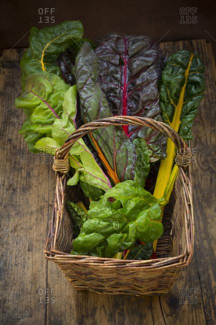 Organic mangold in basket