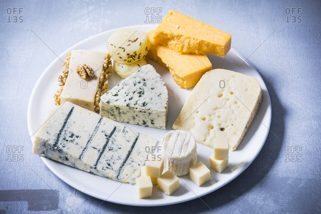 Cheese Platter- different sorts of cheese on plate