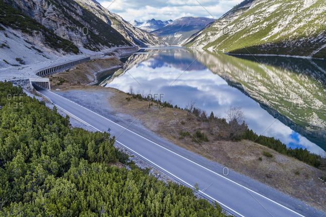 Italy- Lombardy- Lago di Livigno and road