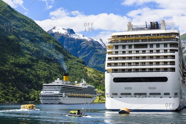 Geirangerfjord, Norway, Scandinavia - July 5, 2017: Ferries on sea