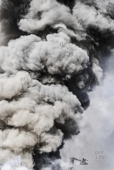 Smoke above fire
