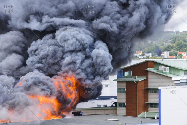 Building in fire