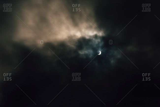 Dark dramatic sky during solar eclipse, 2017, California, USA