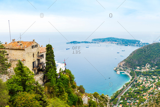 High angle view of rooftops and coastline, Eze, Cote d'Azur, France