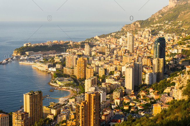 Coastal cityscape with skyscrapers and hotels, Monaco