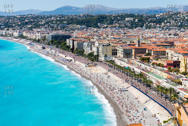September 5, 2015: Cityscape view with coastline and beach, Nice, Cote d'Azur, France