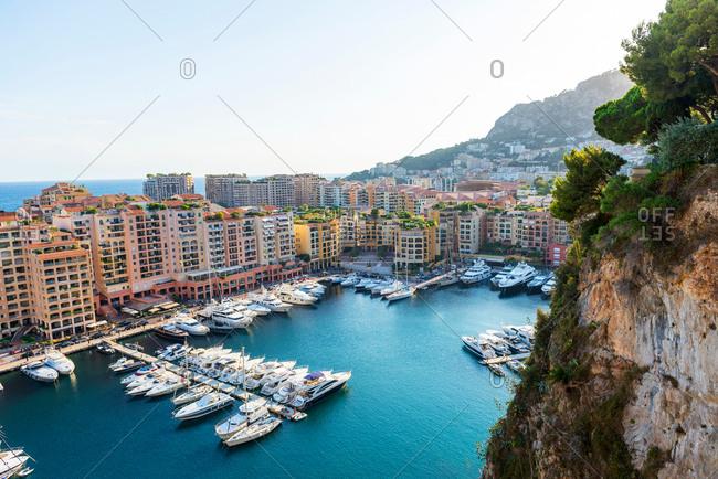 September 3, 2015: Coastal cityscape with skyscrapers and yacht marina, Monaco