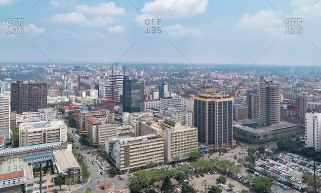 September 26, 2017: Modern buildings downtown Nairobi, Nairobi Area, Kenya, Africa