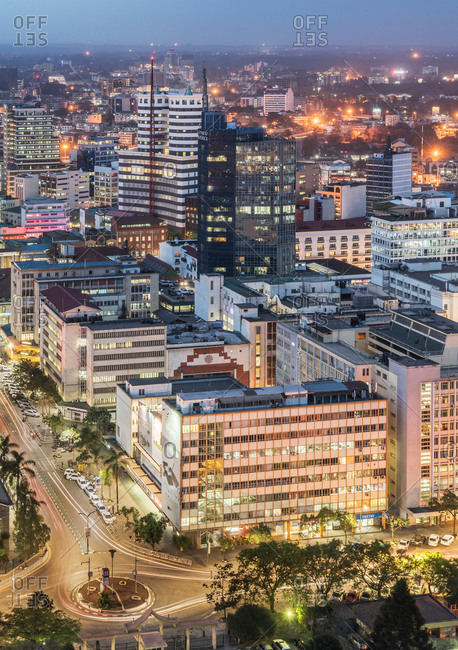September 26, 2017: Modern buildings downtown Nairobi, at dusk, Nairobi Area, Kenya, Africa