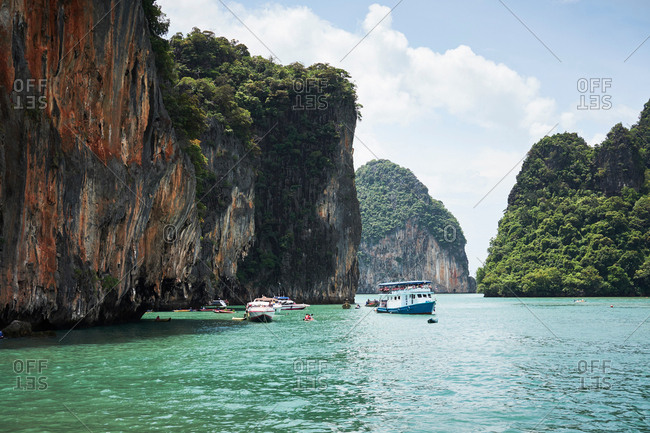 People swimming by cliffs, Ban Phang, Lampang, Thailand, Asia