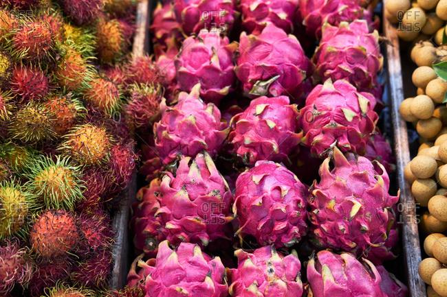 Dragon fruit on fruit and vegetable stall, Phuket, Thailand, Asia