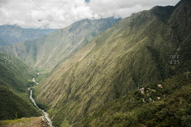 Elevated view of valley on Inca trail, Inca, Huanuco, Peru, South America