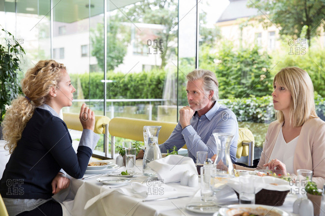 Family al fresco dining at restaurant