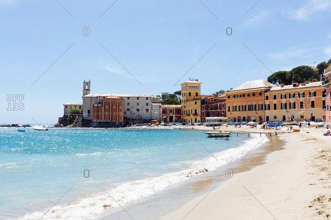 June 7, 2017: Building on coastline, Sestri Levante, Liguria, Italy, Europe
