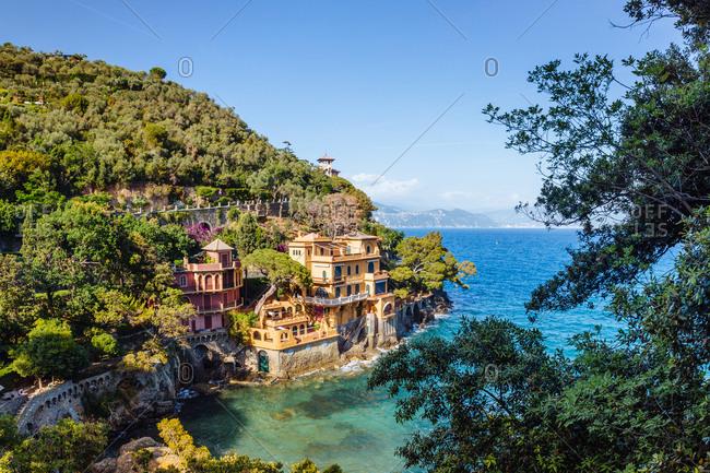 Cliff side buildings in bay, Portofino, Liguria, Italy, Europe
