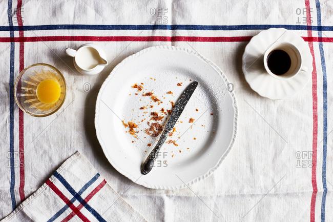 Empty breakfast plate, overhead view