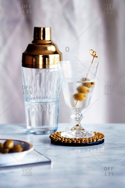 Smoky martini and cocktail shaker