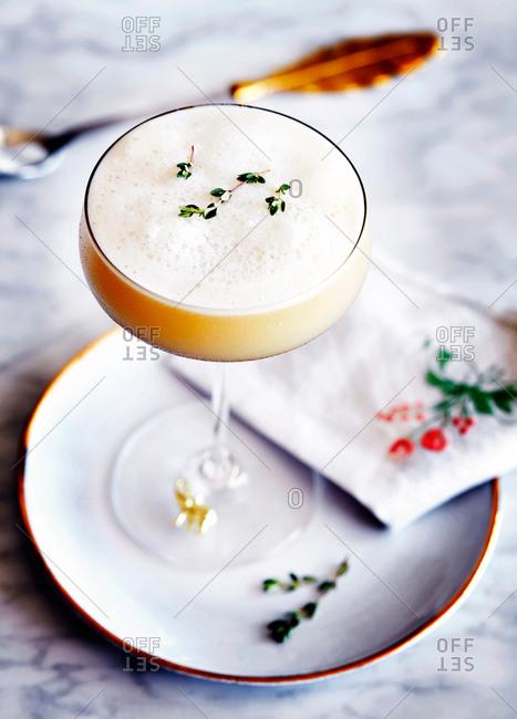 Lemon thyme sour cocktail, close-up