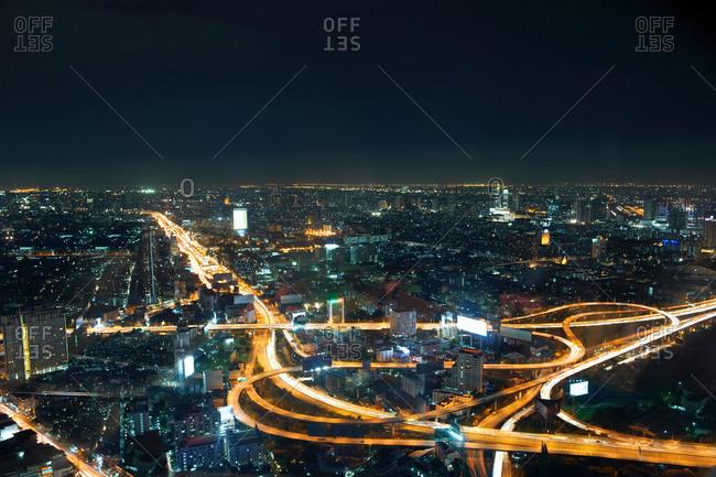 October 11, 2017: Cityscape and highway at night, Bangkok, Thailand