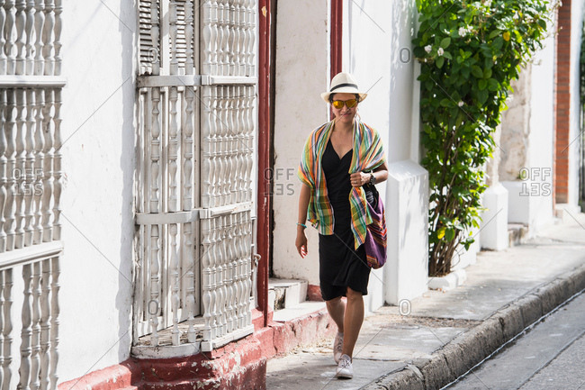 Woman exploring the streets of Cartagena, Bolivar, Colombia, South America