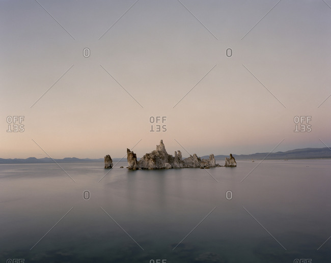 Scenic view of Tufa in Mono Lake against clear sky
