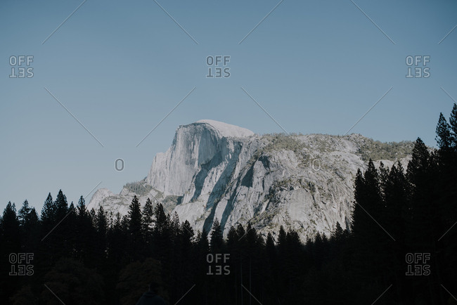 Low angle scenic view of silhouette trees against mountains and clear sky at Yosemite National Park