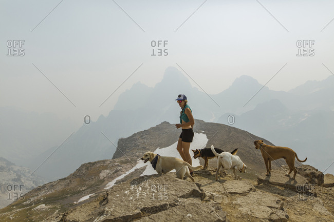 Woman with dogs standing on mountain against clear sky