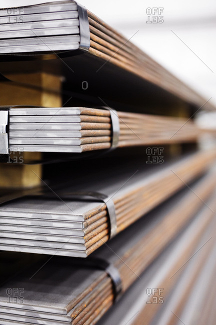 Close-up of metal sheets in storage room