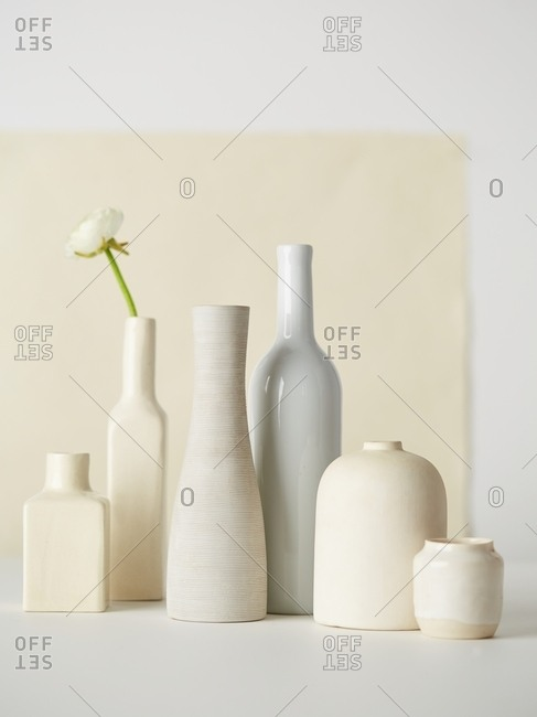 Stoneware arranged in natural light
