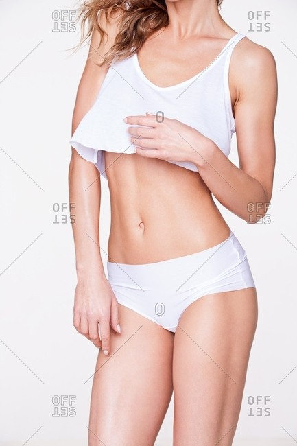 Woman in matching top and bottom undergarments